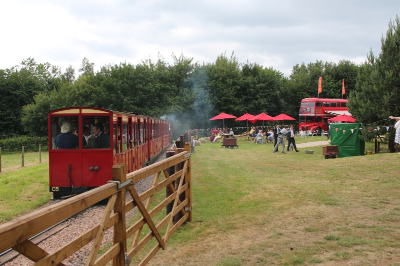 Perrygrove railway wedding venue steam train on tracks